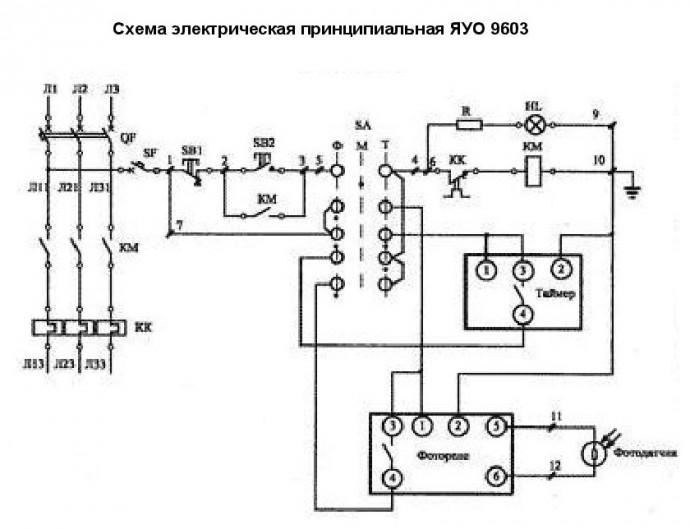 ЯУО 9603 - схема электрическая принципиальная